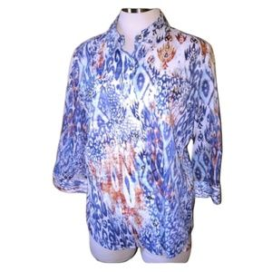Chico's Button Up Print Blouse Size 1